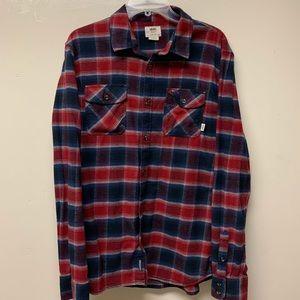 Vans Long Sleeve Flannel Red/Blue Plaid Medium